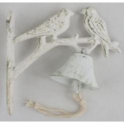Öntöttvas fali kolomp - madárpár, Fehér antikolt