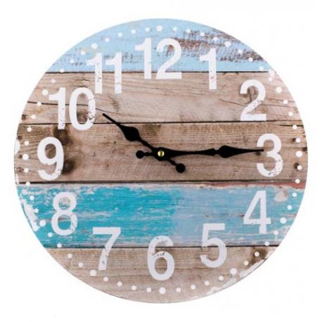 Fa fali óra, kék-barna léces, 34cm átmérő