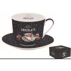 Porcelán reggeliző csésze+alj 400ml, dobozban, Hot Chocolate