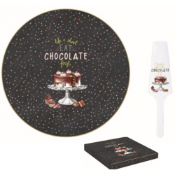 Porcelán tortatál lapáttal 32cm, dobozban, Hot Chocolate