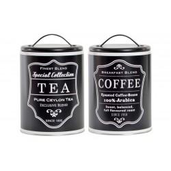 Konyhai fémdoboz szett, fekete, Coffee-Tea