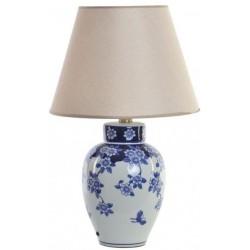 Porcelán Asztali lámpa, 40X40X60 cm, Kék virágos
