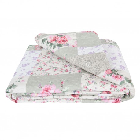 Patchwork ágytakaró - zöld,rózsás, kockás (230x260)