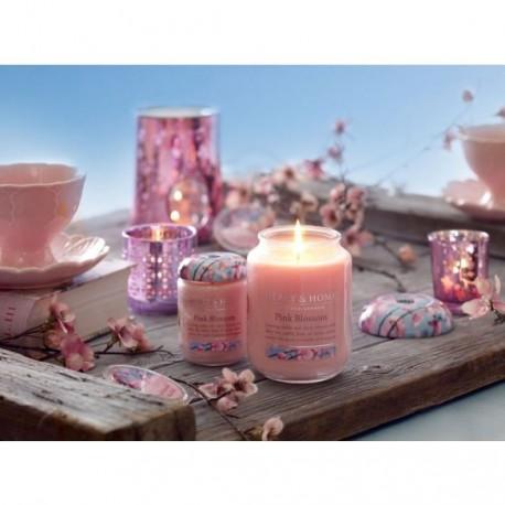 Nagy Üveggyertya Heart&Home - Rózsaszín Álom