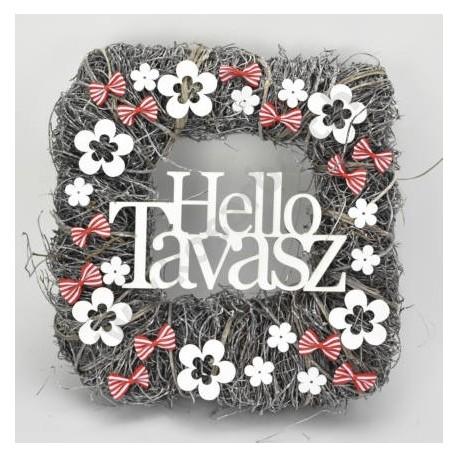 """Ajtókopogtató """"Hello Tavasz"""" szürke négyzet 30 cm"""