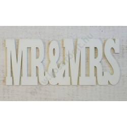 "Natúr fa - ""Mr & Mrs"" 25cm felirat fehér"