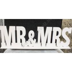 "Natúr fa - ""Mr & Mrs"" felirat talppal fehér 50cm"
