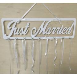 """Fa - """"Just Married"""" tábla fehér 70 cm"""