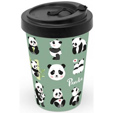 Bambusz utazó bögre tetővel 0,4l Panda macis