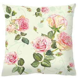 Textil párna töltelékkel 34x34cm - Rózsás