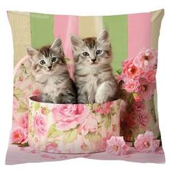 Textil párna töltelékkel 34x34cm - Cicás és Rózsás