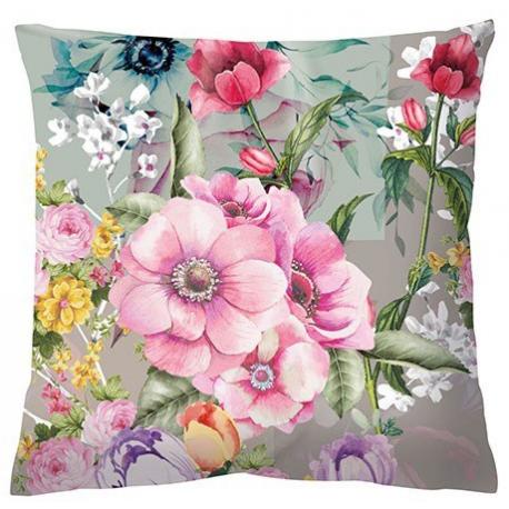 Textil párna töltelékkel 34x34cm - Színes virágos