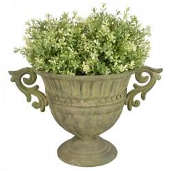 Fém Virágtartó, kicsi - antikolt zöld