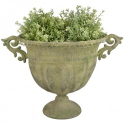 Fém Virágtartó, ovális, Nagy - antikolt zöld