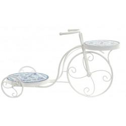 Kovácsoltvas, kerámia virágtartó állvány,  biciklis