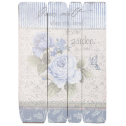 Fa fali kép 45x60cm, kék rózsás