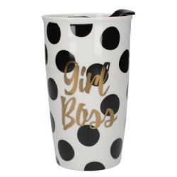 Duplafalú porcelán utazó bögre, műanyag fedővel 380ml, Girl Boss
