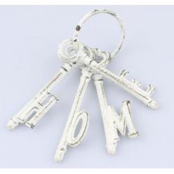 Öntöttvas kulcscsomó HOME, fehér 10x17cm