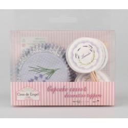 Muffinpapír szett 24db-os, 24db díszítővel, 11,5cm