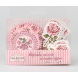 Muffinpapír szett 24db-os, 24db díszítővel, 11,5cm - Rózsás
