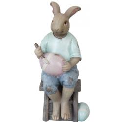 Dekor müanyag figura, tojásfestő nyuszi fiú