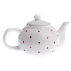 Kerámia teáskanna pöttyös, 1000ml, Fehér