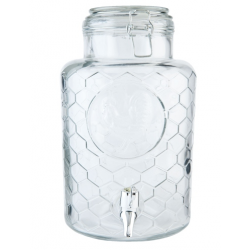 Üveg limonádé csapoló 5,3l ,rácsos mintázatú,kakasos