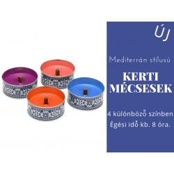 Mediterrán stílusú kerti mécsesek, 4 féle színben
