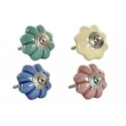 Kerámia bútorgomb virág alakú 5 cm, 4 színben