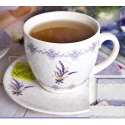 Porcelán teáscsésze + alj, 250ml, 2 személyes , Mia- Levendulás