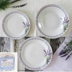 Porcelán tányérszett (lapos,mély,desszert) 6 személyes