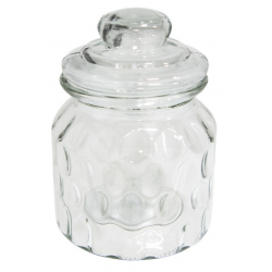 """Üveg tároló tetővel """"buborék"""" mintázatú,10x14cm"""