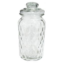 """Üveg tároló tetővel """"buborék"""" mintázatú,10x22cm"""