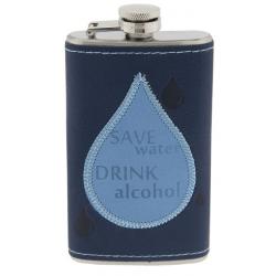 Fém flaska kék műbőr borítással, 7x2x12cm