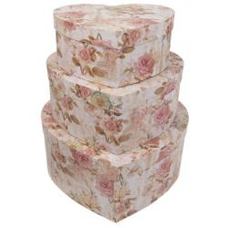 Kartondoboz szett 3db-os szív alakú, rózsás-eiffel tornyos