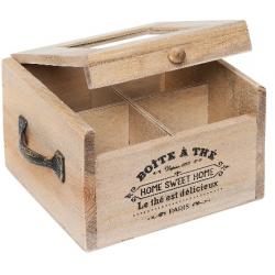 Fa teás doboz 4 rekeszes üveg tetővel, Boite Á Thé