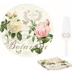 Porcelán tortatál lapáttal 32cm, Jardin Botanique