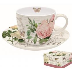 Porcelán teáscsésze+alj, 200ml, Jardin Botanique