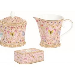 Porcelán tej/citromkiöntő-cukortartó szett, Varázslatos Pillangók