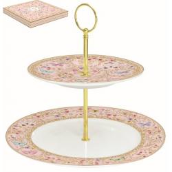Porcelán 2 emeletes süteményesállvány, díszdobozban, Varázslatos Pillangók