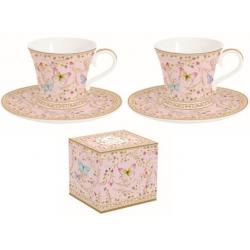 Porcelán eszpresszó csésze+alj, 2 szem. 80ml, Varázslatos Pillangók