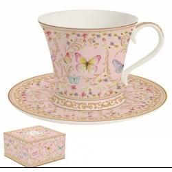 Porcelán teáscsésze+alj, 180ml, Varázslatos Pillangók