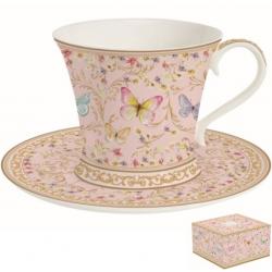 Porcelán reggeliző csésze+alj, 300ml, Varázslatos Pillangók