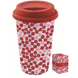 Duplafalú porcelán utazóbögre szilikon tetővel 350ml, Coffee Mania / Pink virágos