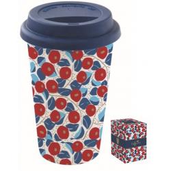 Duplafalú porcelán utazóbögre szilikon tetővel 350ml, Coffee Mania / Kék virágos
