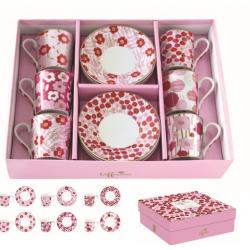 Porcelán eszpresszó csésze+alj 6 személyes, 100ml, dobozban, Coffee Mania / Pink virágos