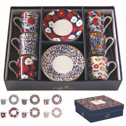 Porcelán eszpresszó csésze+alj 6 személyes, 100ml, dobozban, Coffee Mania / Kék virágos