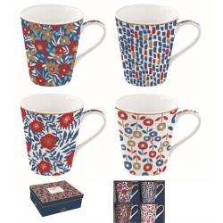 Porcelán bögre szett, 4db-os, 300ml, dobozban, Coffee Mania / Kék virágos