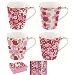 Porcelán bögre szett, 4db-os, 300ml, dobozban, Coffee Mania / Pink virágos