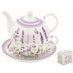 Porcelán egyszemélyes teáskészlet 350ml+350ml,  Levendula mező